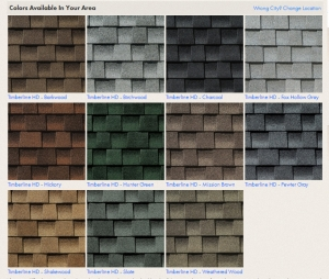 GAF Colors for Timberline HD
